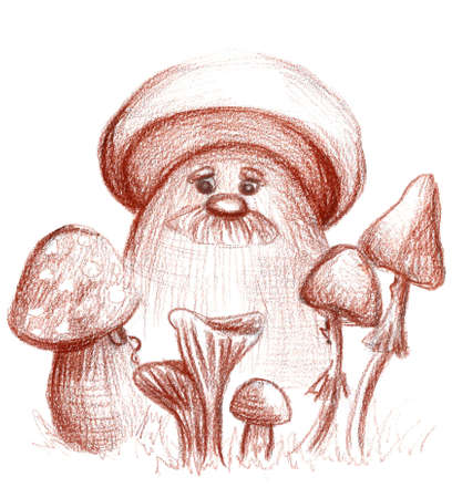 Hand drawn cute mushrooms. Children illustration perfect for print, decoration, cards, posters, fabric and textile