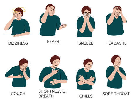 No gender cartoon characters demonstrating symptoms of common cold - fever, cough, sore throat, snot, chills, dizziness, sneeze, freeze, snot. Collection of sick or ill human. Flat vector illustration