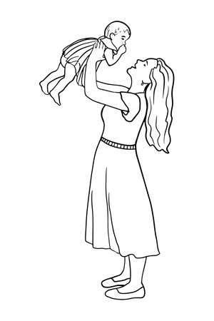 Hand drawn adorable baby and mother line silhouette. Cute simple vector illustration. Happy mom holds her infant. Perfect for cards, posters, design, booklet, website, article, mothers day