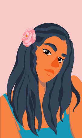 Portrait of young attractive woman with flowers in her hairs. Teenage girl looks at the camera. Modern Vector flat illustration