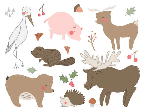 A set of hand drawn cute woodland animals. Deer, stark, pig, hedgehog, bird, mushroom, acorn, bear. Vector collection perfect for childish decoration clothes, patterns, stickers, cards Stock Illustratie