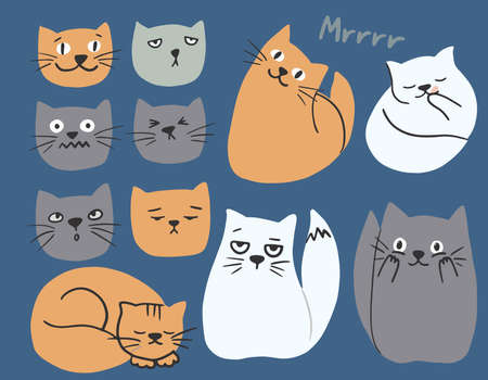 Hand drawn flat cute cats collection. Set of kittens with different emotions and poses. Vector colorful collection perfect for childish decoration clothes, patterns, stickers, cards, website