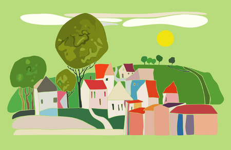 Abstract drawing of the village with small houses on a green background Vector