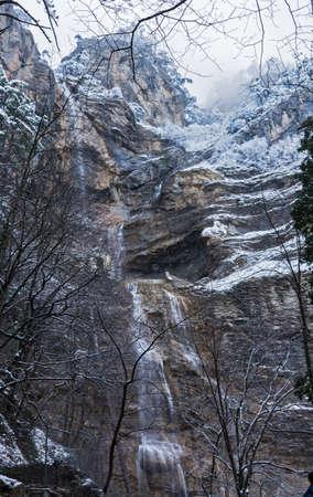 Uchan-su waterfall in Crimea in winter. Uchan-su falls on the mountain Ah-Petri in the Crimea