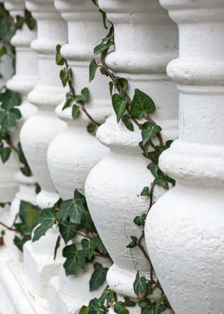 Pattern of white balusters. Architectural elements of stairs and railings. Beautiful repeating pattern. The classic elements of the exterior. Abstract background of architectural elements.