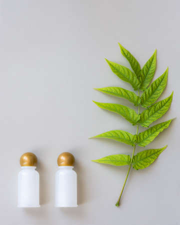Natural cosmetics. Two bottles for oils, gels or shampoos. Still life in pastel natural colors. Green acacia leaf on a light beige background. Natural discreet design with space for text. Imagens