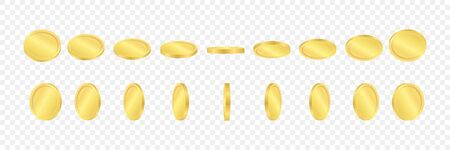 3d golden coins on a transparent background. Coins in different positions. Vector illustration.