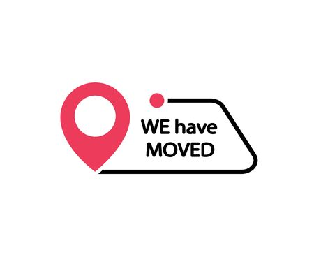 We have moved. Move sign. Banner sign. Vector 일러스트
