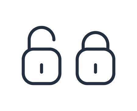 Padlock line icon. Closed and open lock in flat style. Vector icon.