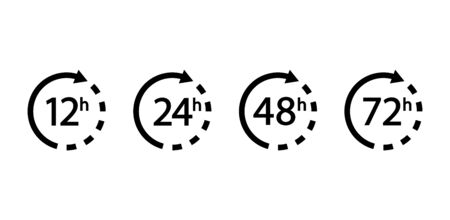 Set of arrows clock and time icons. 12, 24, 48, 72 hours.