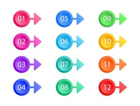 Set of bullet points. Arrows vector. Colorful web buttons. Vector elements.
