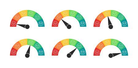 Mood rating meter in flat style. Speedometers with of customer review. Customer satisfaction meter. Vector illustration. 일러스트