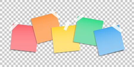 Sticky notes paper. Set of stickers. Colored paper notes. Notes to the message.