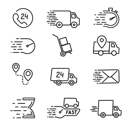 Thin line delivery icons set. Web Delivery Services Symbols. Vector illustration.