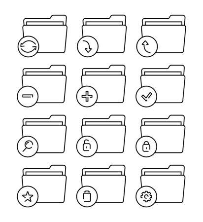 Conjunto de iconos de carpeta delgada línea. Diferentes iconos de vector de carpeta.