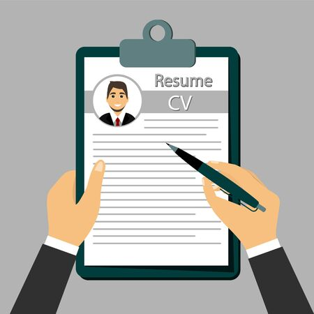 Check Resume, The concept of resume in the hands.