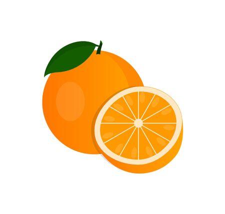 Vector oranje, hele sinaasappel en in snit.