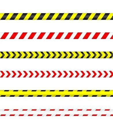Nastro di avvertenza, linea di polizia e nastro di pericolo.