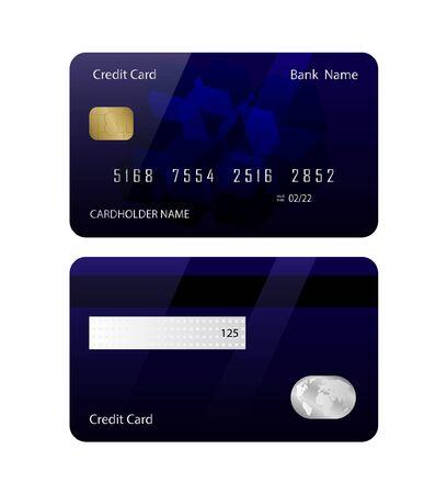 Modèle de carte de crédit avant et arrière - Illustration vectorielle. Vecteurs
