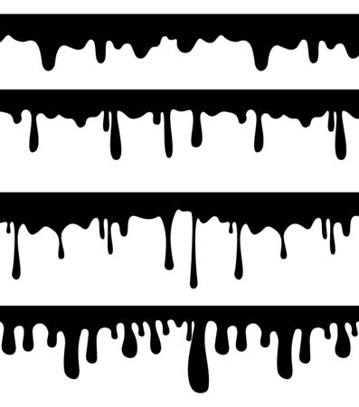 Dripping paint or liquid, A set of different options dripping. Illustration
