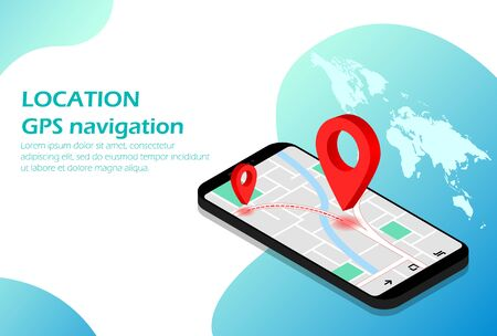 Location, Mobile navigation GPS Isometric
