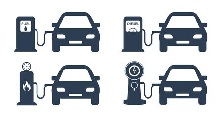 Refueling cars with different fuels, Gasoline, diesel fuel, gas and electric charging for the car.