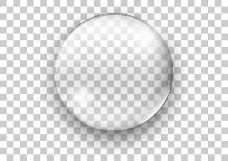 Realistic transparent glas, Water soap bubble - Vector illustration.