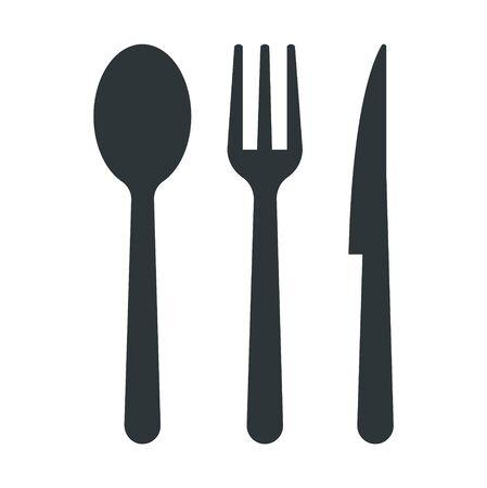 Icone di cucchiaio, forchetta e coltello - illustrazione vettoriale