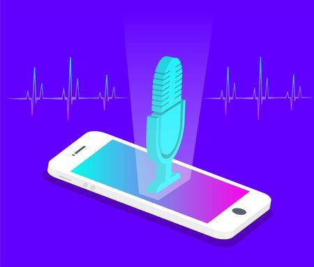 Personal assistant and voice recognition concept. Ilustração