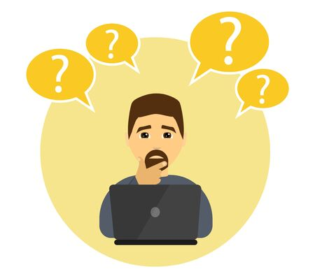 A man works on a laptop, Man is confused - Vector illustration.