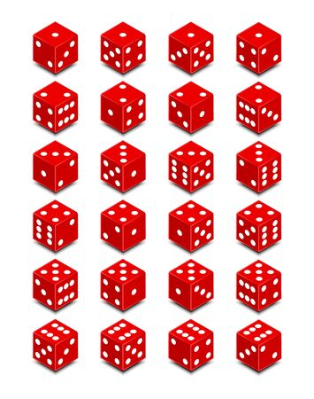 Set of dice, Isometric dice - Vector illustration. Stok Fotoğraf - 134182659