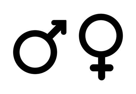 Mannelijk en vrouwelijk symbool, mannelijke en vrouwelijke geslachtspictogrammen.