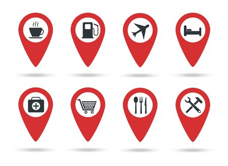 Locations icons, A collection of map markers with service marks - Vector illustration.
