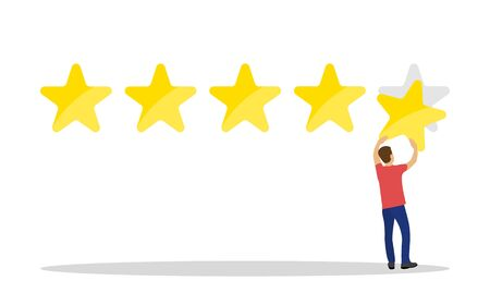 Man customer giving five star rating, Customer Review. Stock Illustratie