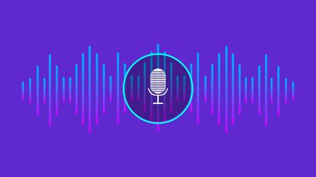 Personal assistant and voice recognition concept, Sound symbol, Microphone button - Vector illustration. Ilustração