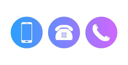 Set of phone icons, Mobile, landline phone and handset.