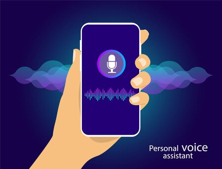Personal Assistant and voice recognition on your smartphone, Voice and sound lines.