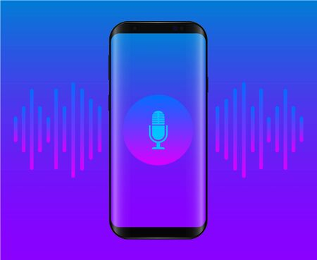 Personal assistant and voice recognition on mobile app - vector