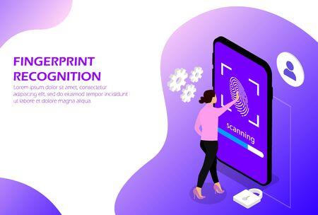Fingerprint recognition, Fingerprint scan Human Ilustração
