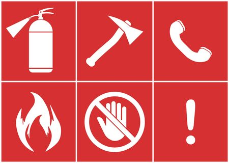 Fire safety kit, Against a fire - vector illustration Foto de archivo - 134267351