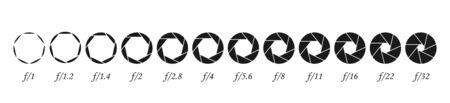 Set of apertures for the lens, Membrane camera lens, Diaphragm numbers - vector