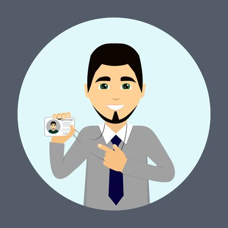 A businessman is wearing a badge - Vector illustration.