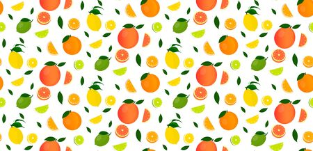 Seamless pattern of citrus fruits and fruit slices.