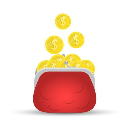 Purse with coins, Dollar coin Vector icon.