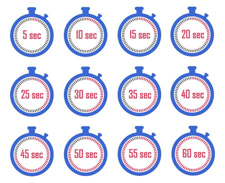 Set of stopwatch icons, Meter seconds at a different stage of time.