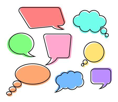Multicolored speech bubble set, Vector illustration Ilustração