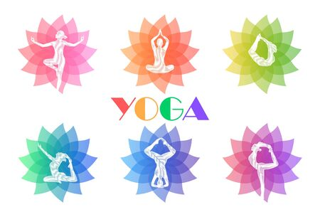 A set of logos for yoga classes, Fitness. Illustration