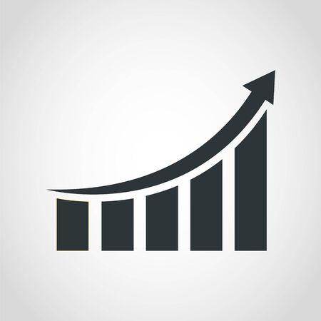 Icona del grafico in crescita, illustrazione vettoriale