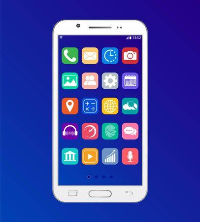 Aplikacja na smartfonie, interfejs pulpitu w telefonie.