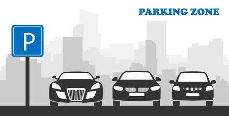 Voiture dans le parking, Zone de stationnement, Parking